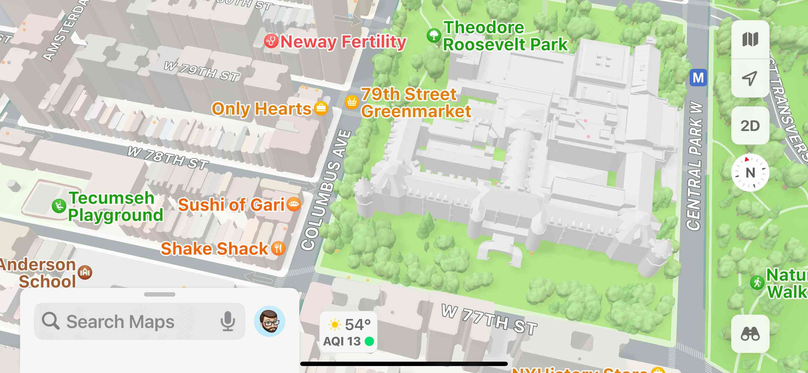 A landscape screenshot of Apple Maps showing an area in New York City.