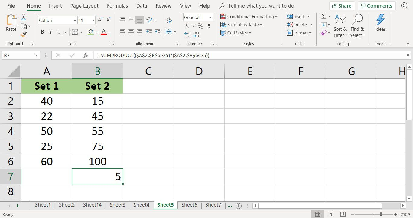 Count Cells of Data With Excel's SUMPRODUCT Function