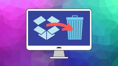 The Dropbox icon and a trash can icon on a computer screen.