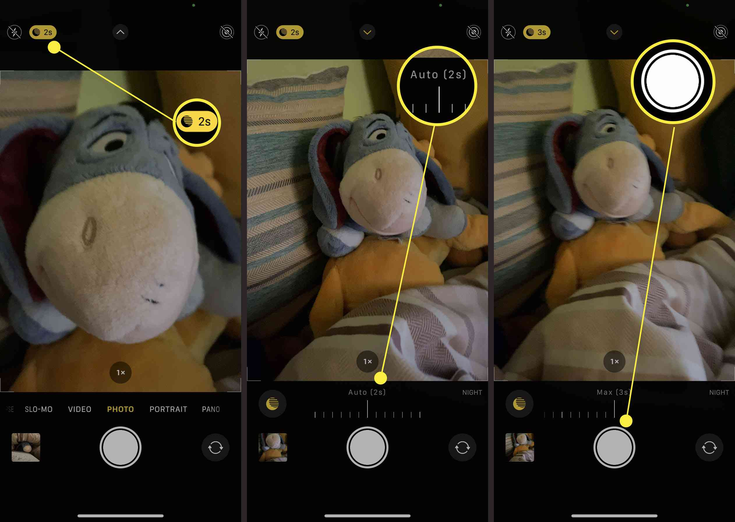 Steps required to manually adjust Night mode on an iPhone camera