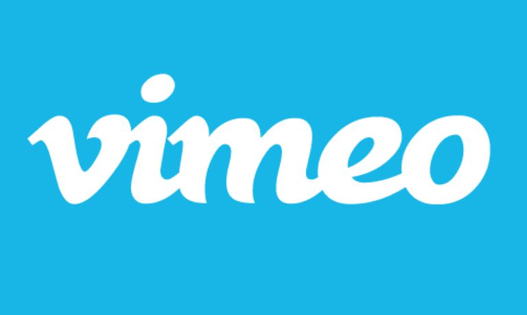 Vimeo logo against blue background.