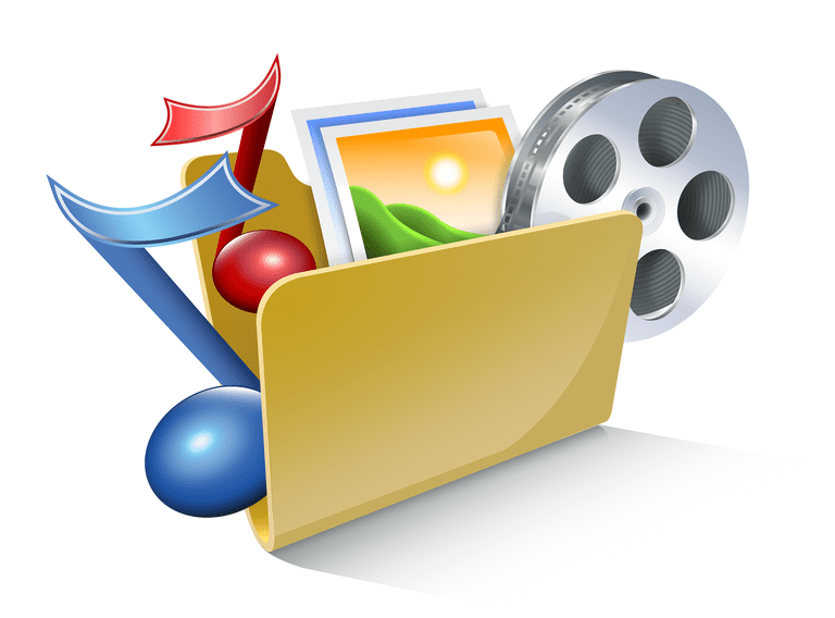 Illustration of a file folder holding music notes, images, and a film canister