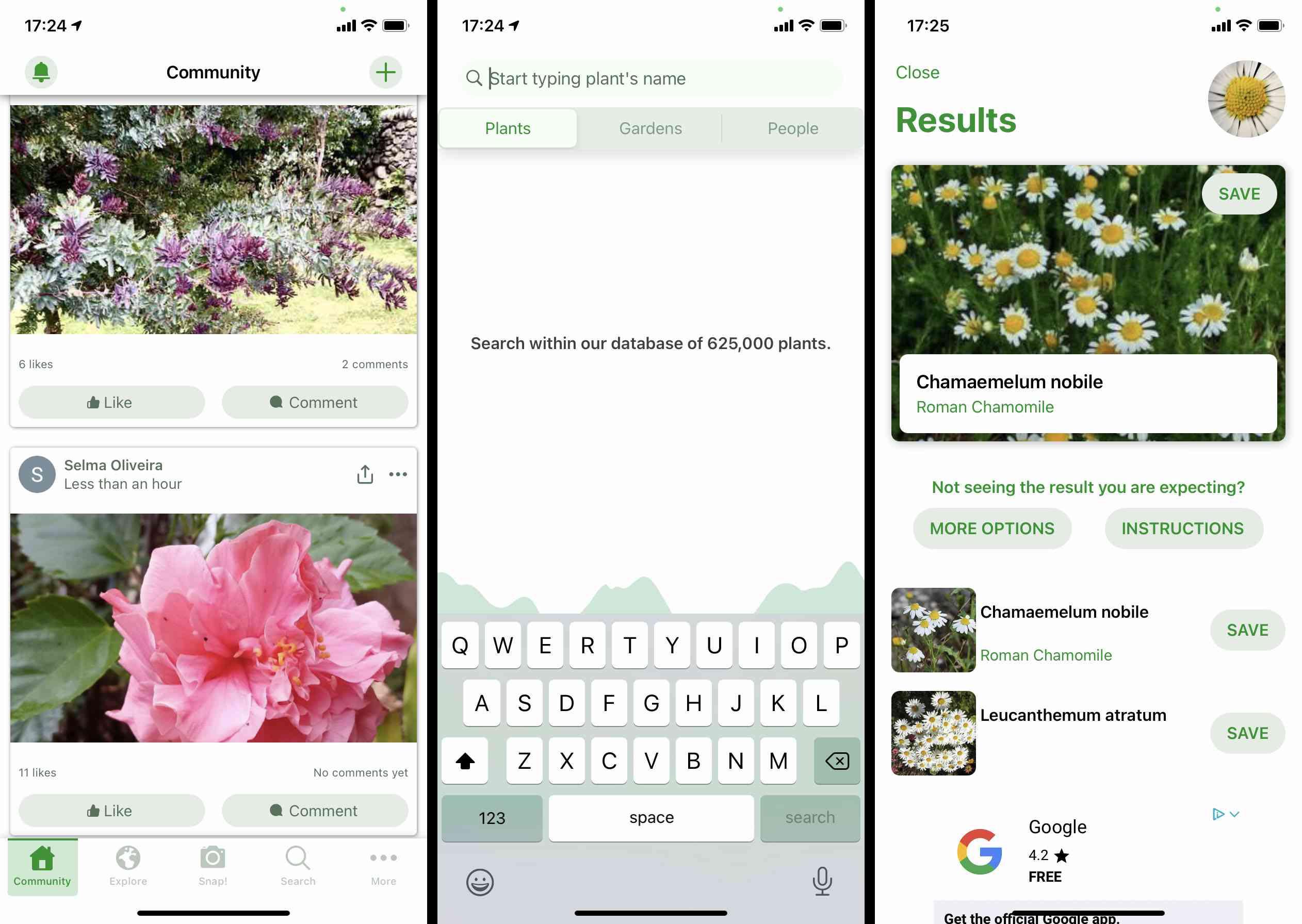 PlantSnap iOS app screenshots
