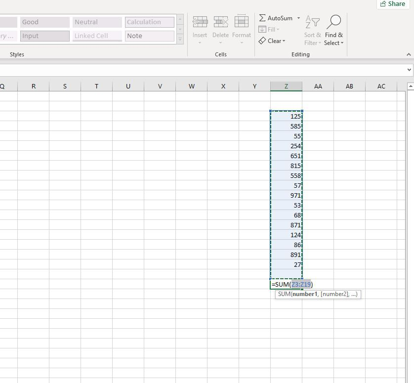 Using the SUM function in Excel