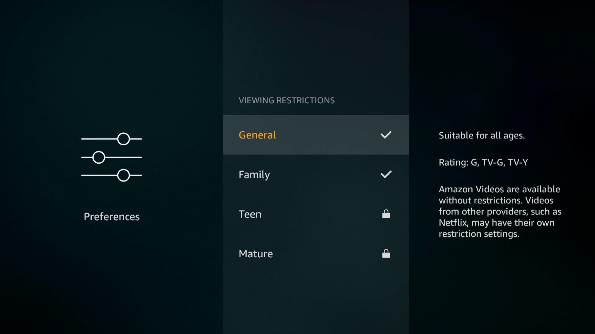 A screenshot of viewing restrictions on a Firestick.