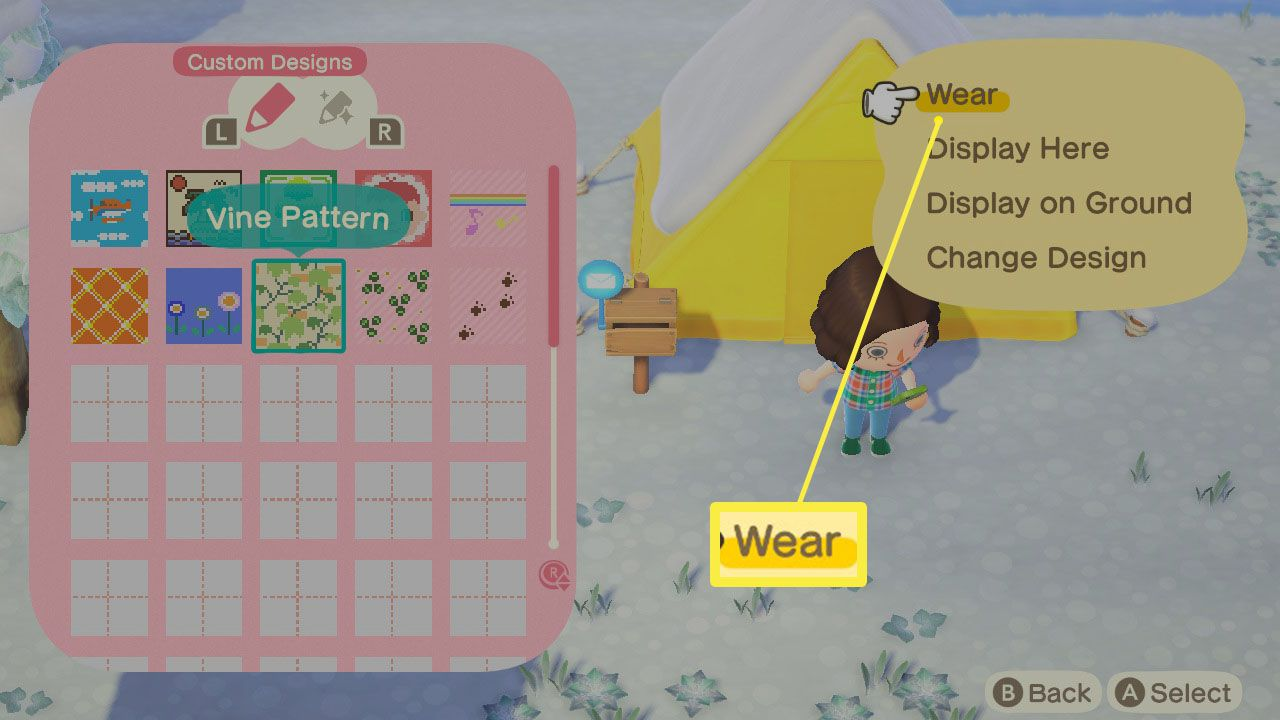Animal Crossing: New Horizons with Wear highlighted on a custom design