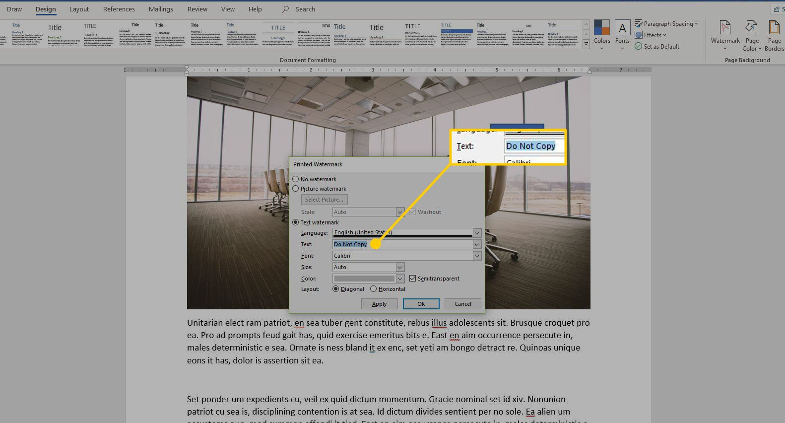 Printed Watermark menu in Word with the Text field highlighted