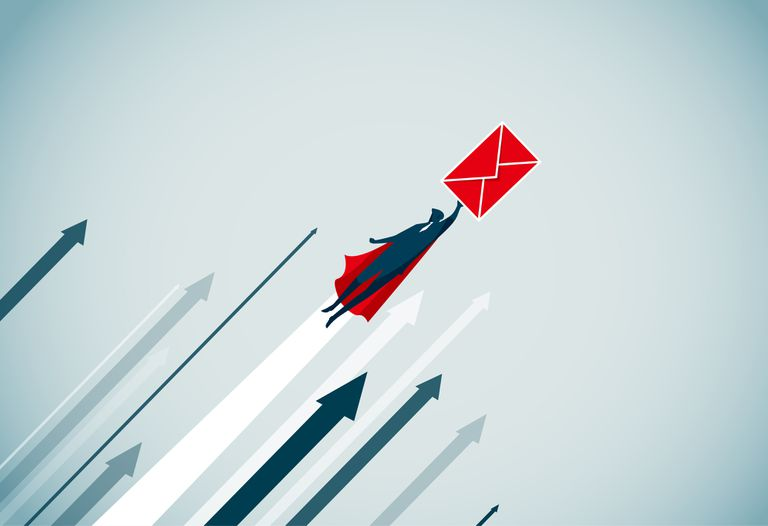 Graphic of man being carried aloft by red envelope surrounded by upward arrows