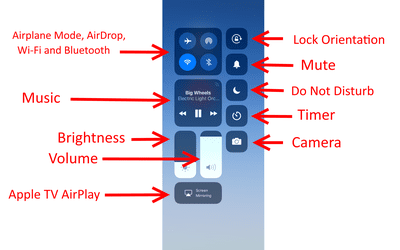 Screenshot of iPad control panel