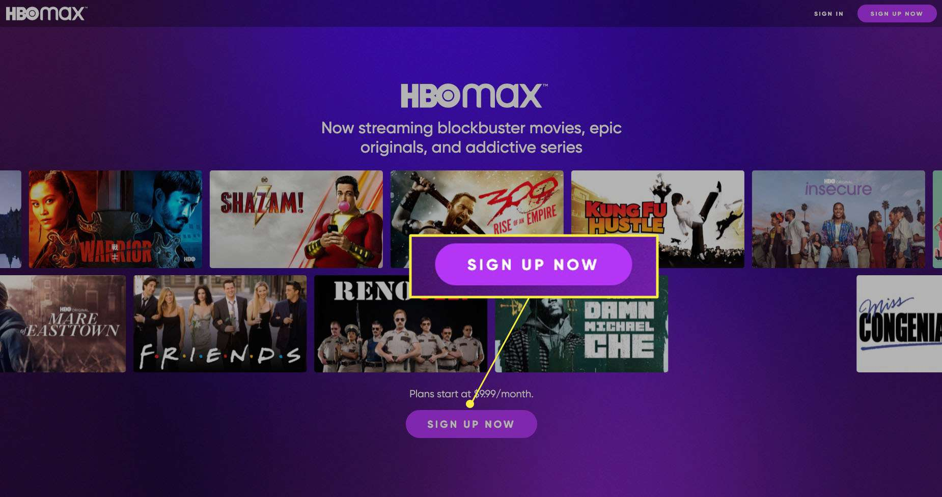 HBO Max login screen with Sign Up Now highlighted