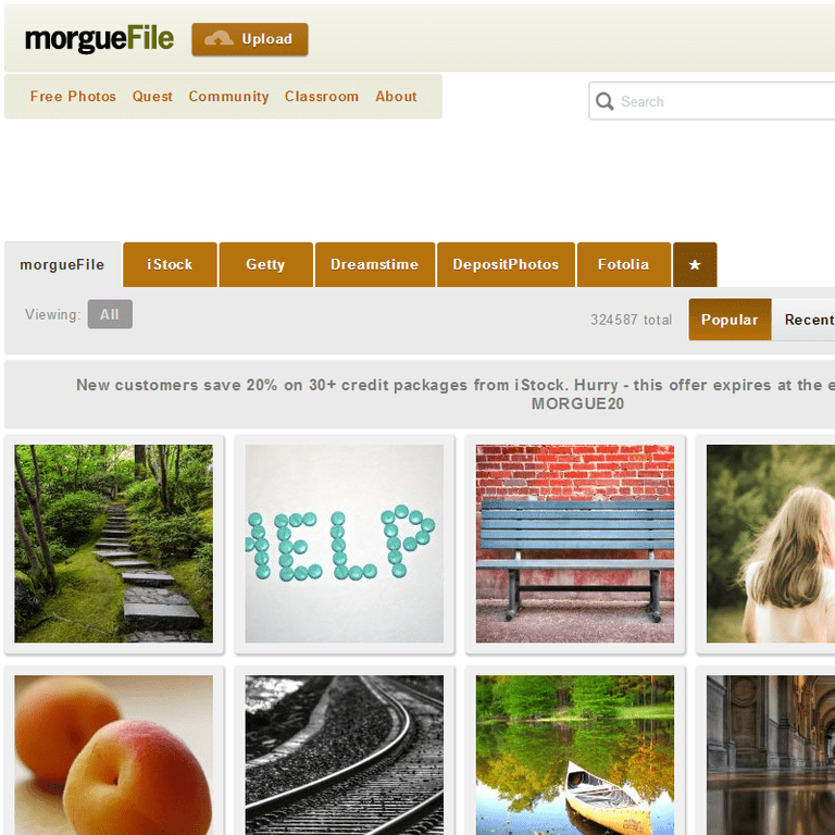 Screenshot of the morgueFile website