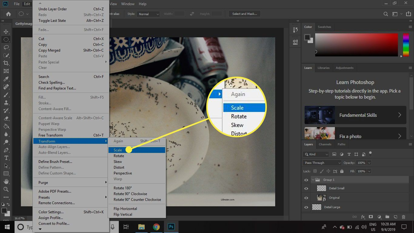 A screenshot of Photoshop with the Scale command highlighted