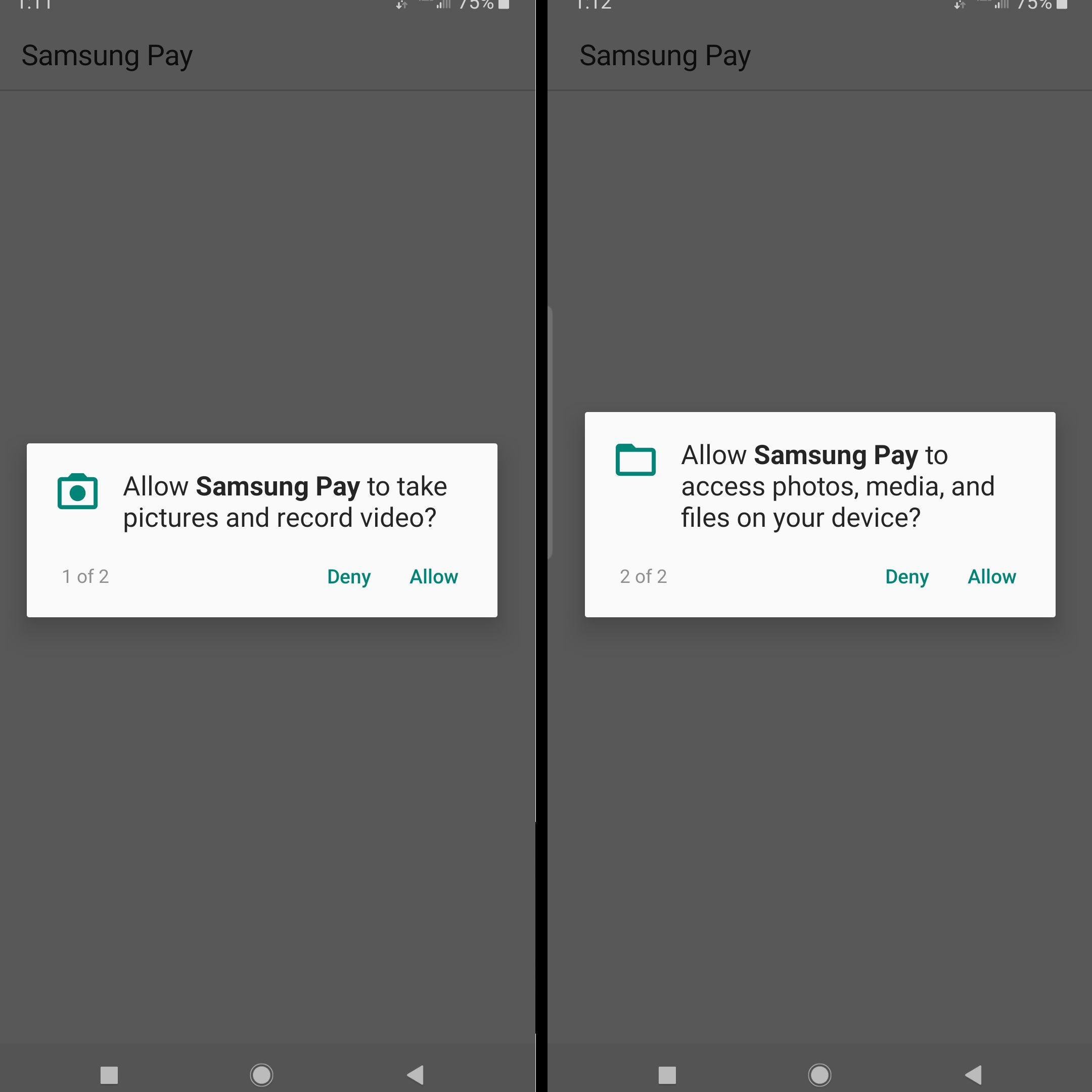 photo and file permissions request from samsung pay
