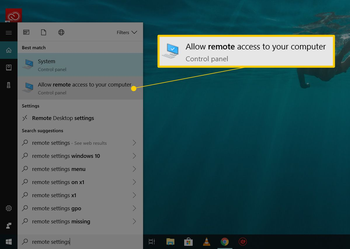 Remote settings search in Cortana, Allow remote access to your computer menu item