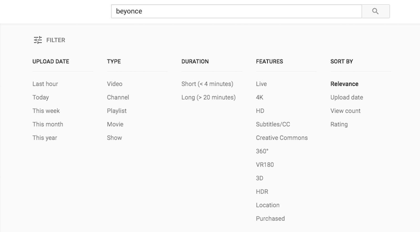 Filter menu in YouTube