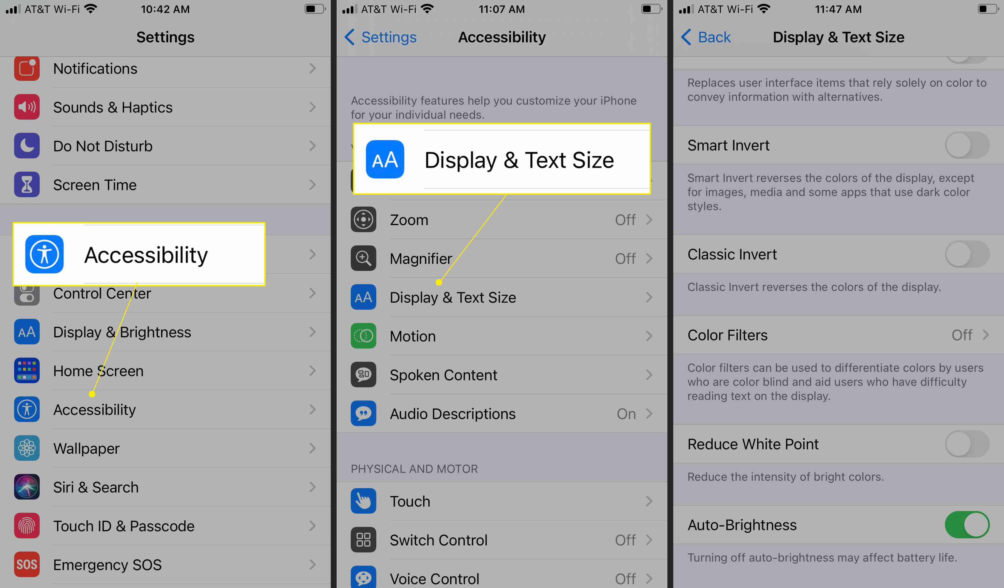 Accessibility options with Display & Text size settings highlighted