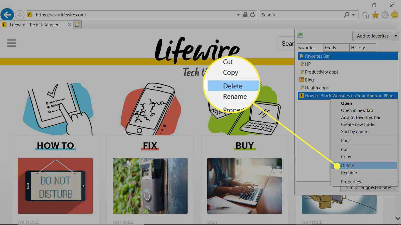 Delete Bookmark command highlighted from Internet Explorer Favorites sidebar