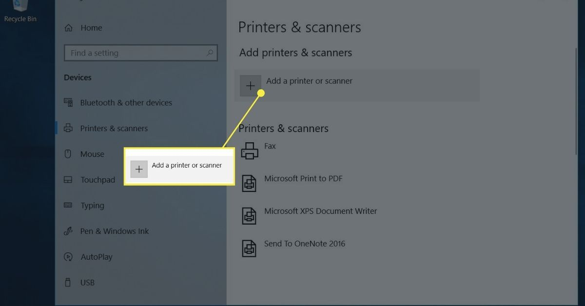 Printers & scanners settings to add a printer to a Windows 10 laptop