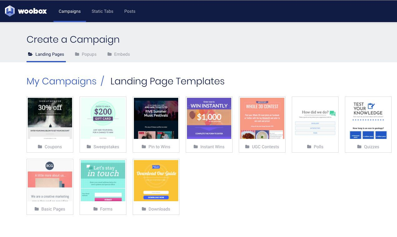 Woobox.com Create a Compaign page