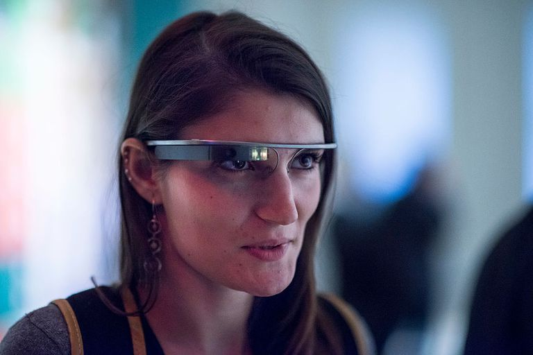 Woman wearing smart glasses or google glass