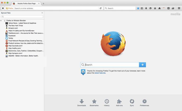 Firefox home screen on the Mac