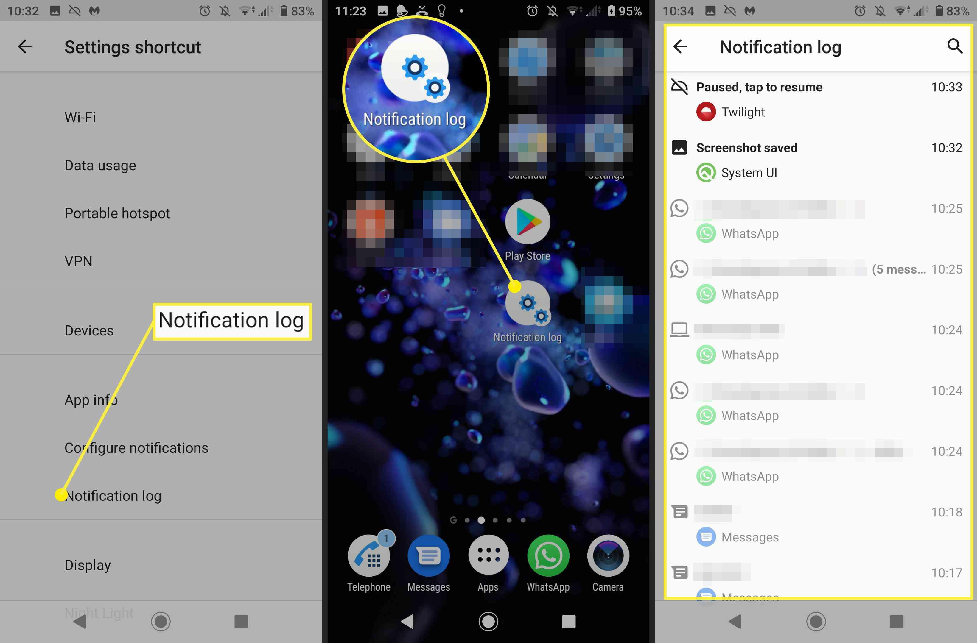 Screenshots of the Notification Log shortcut icon on Android and the Notification log.