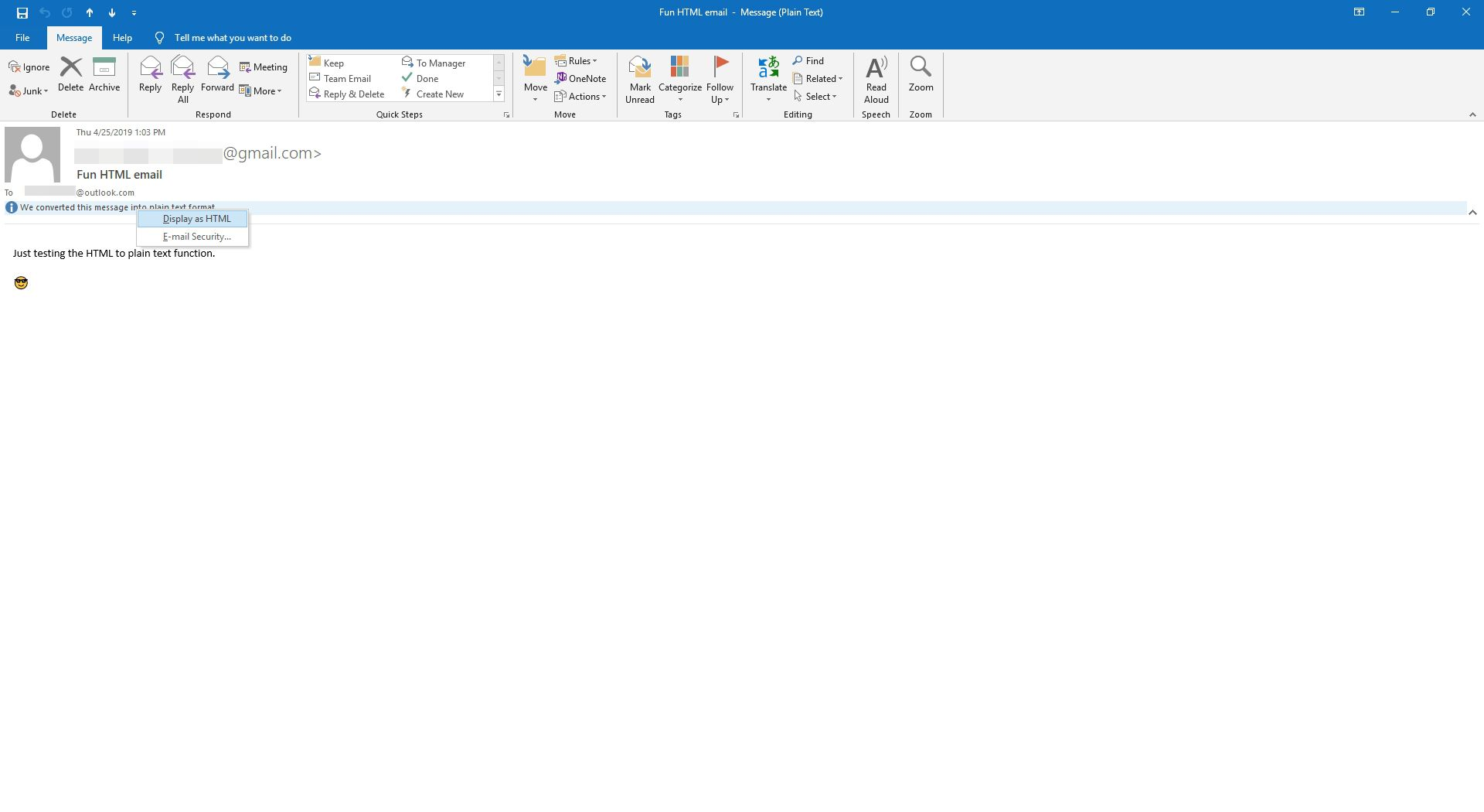 Viewing an email as HTML in Outlook.