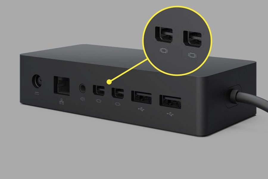 The Microsoft Dock with the MiniDisplay Port highlighted.