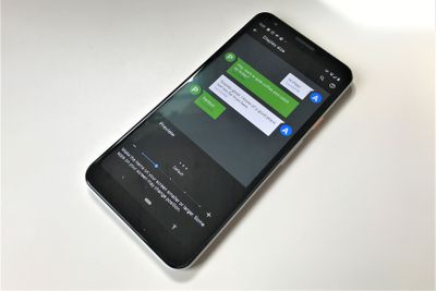 A photo of a Google Pixel 3 running Android 11 and showing the Display Size setting
