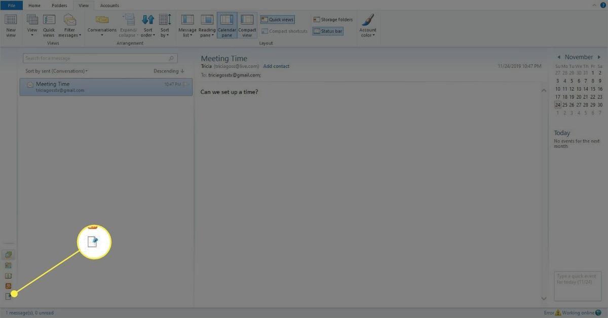 Mail in folder list