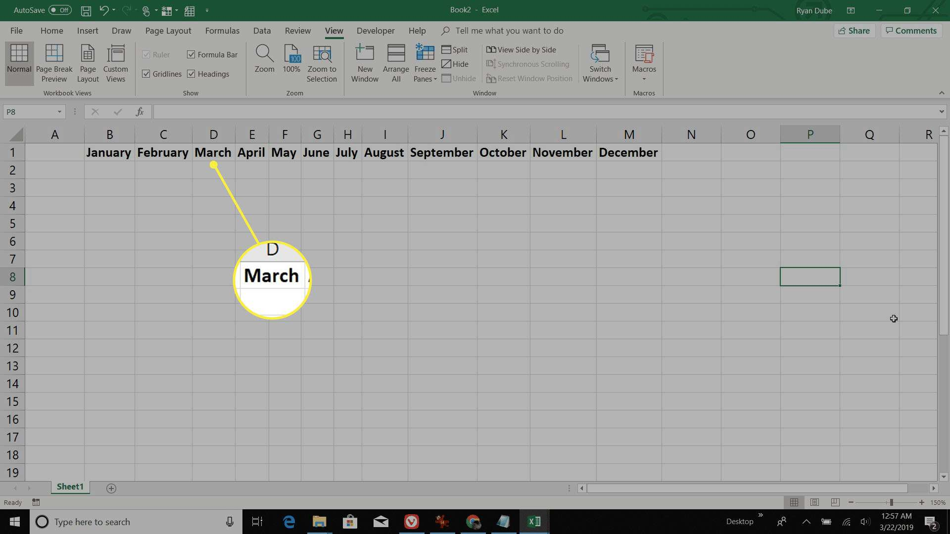 building the monthly row in Excel