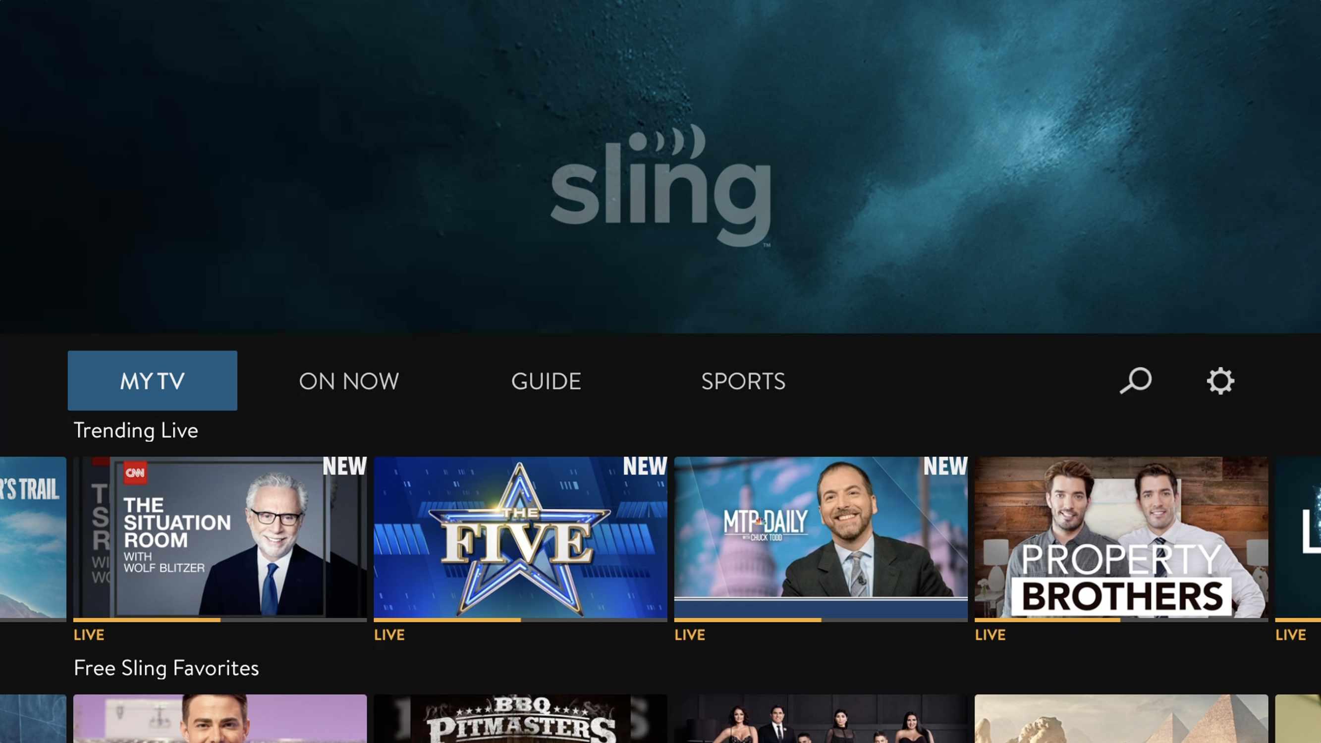 Screenshot of Sling TV on the Apple TV