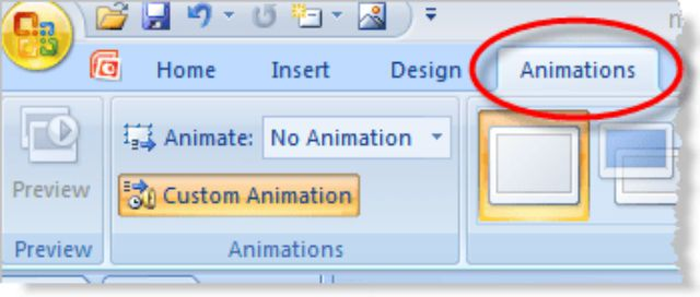 Select Custom Animations to apply a motion path in PowerPoint