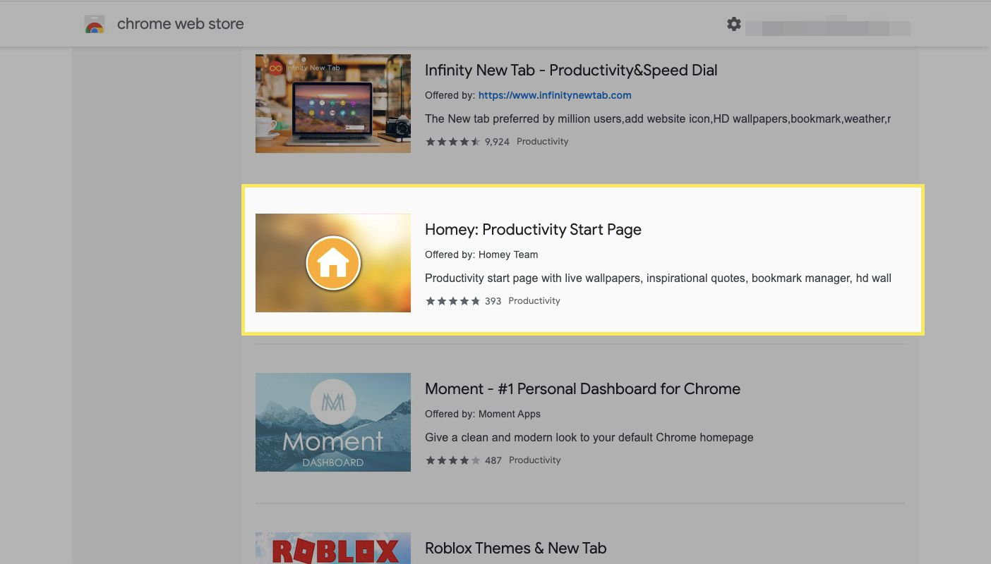Chrome web store with Homey Productivity Start Page highlighted