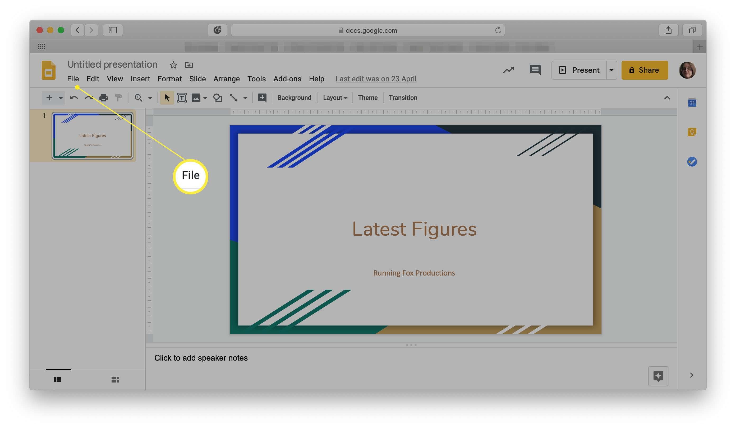 Google Slides with File menu highlighted