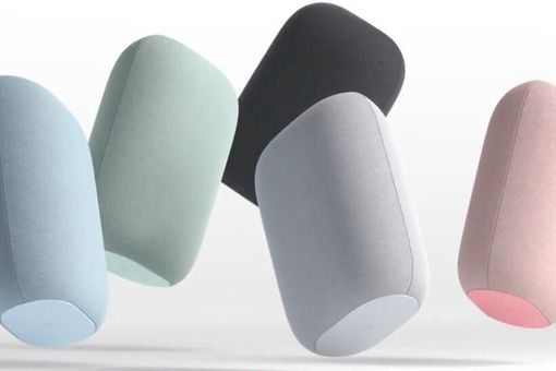 Picture of five Nest Audio speakers of various colors
