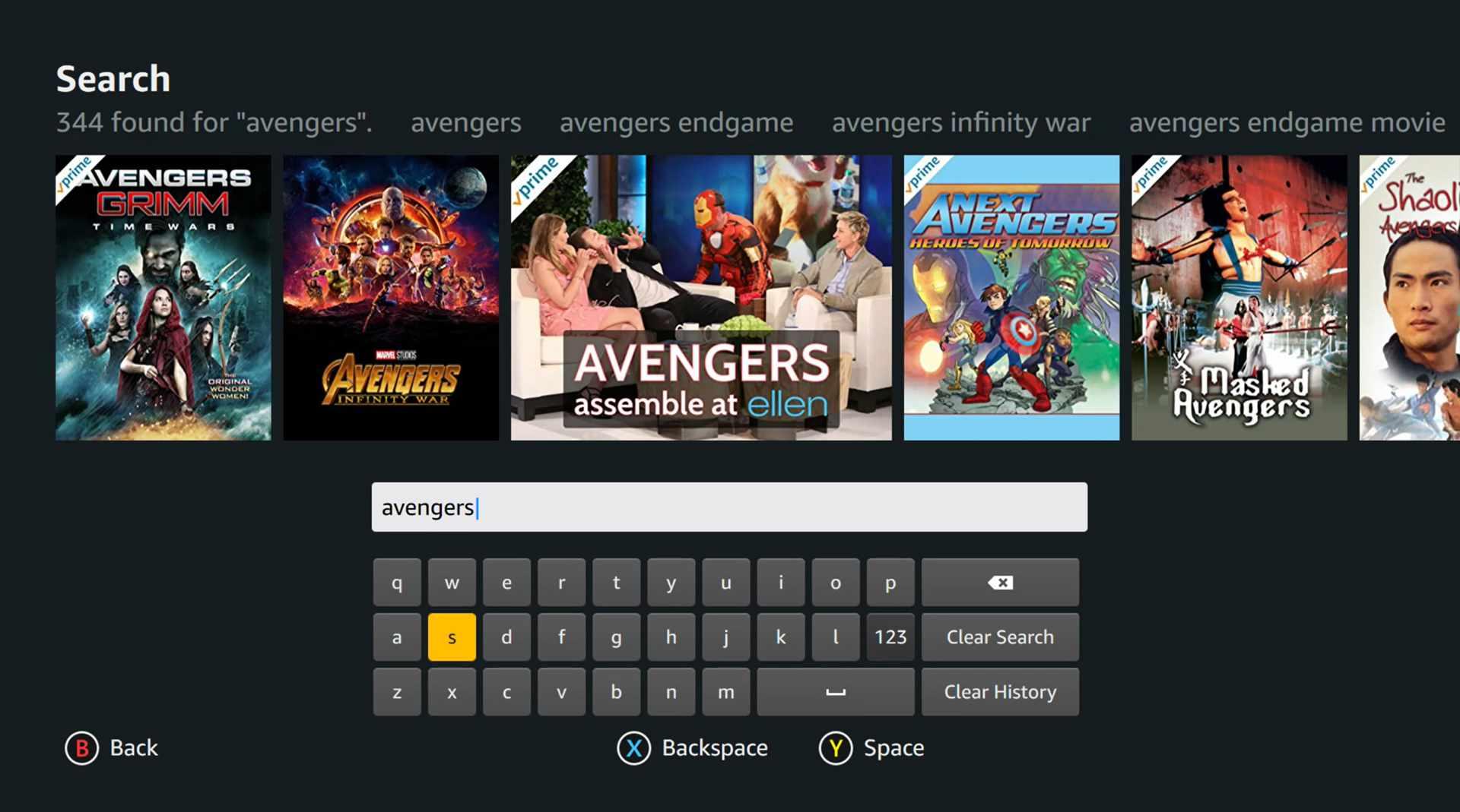 Amazon Prime Video app on Xbox One X console.