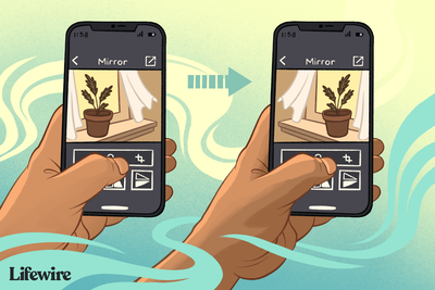 Two iPhones, showing mirrored image on each