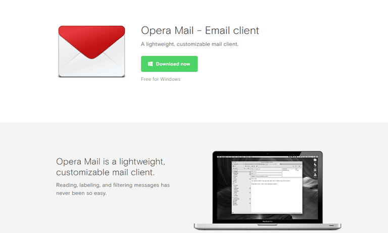 Screenshot of the Opera Mail website showing the mail program on a Mac computer.