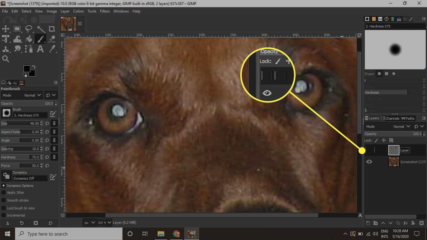 GIMP with the Layer Visibility button highlighted