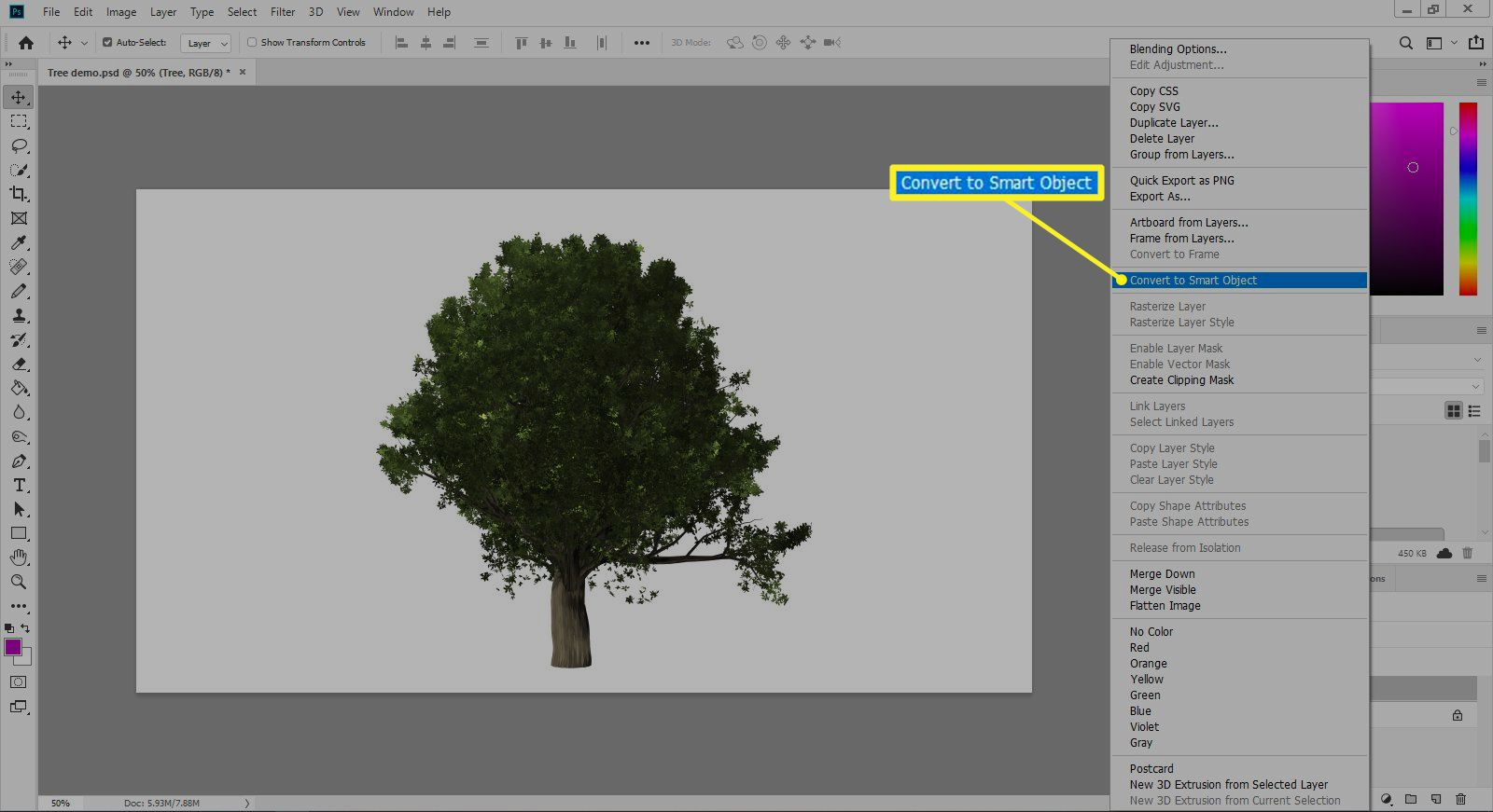 Photoshop showing Convert to Smart Option in menu