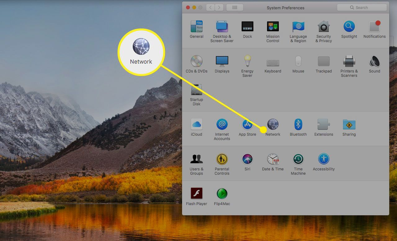 macOS System Preferences with the Network section highlighted
