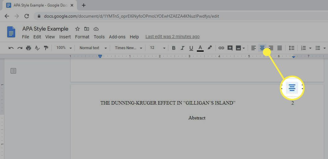 The Center Align option on the Google Doc toolbar.