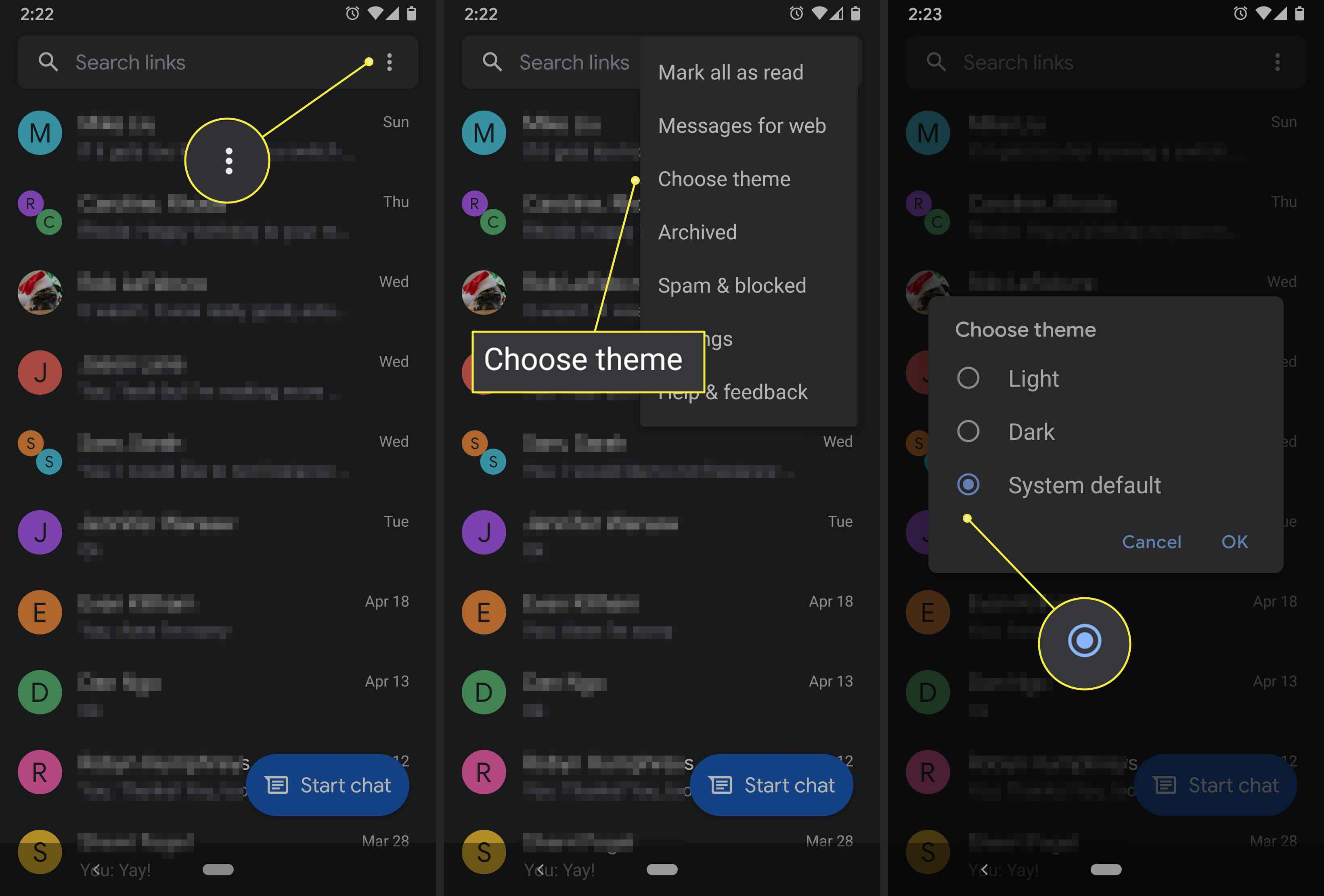 An Android user changes the theme of the Google Messages app