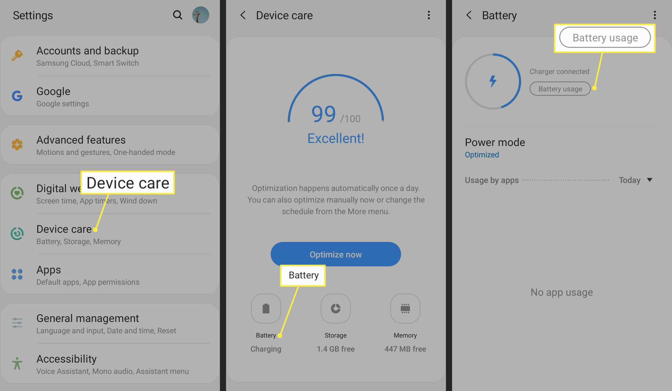 Device care, Battery, and Battery Usage highlighted in Android settings