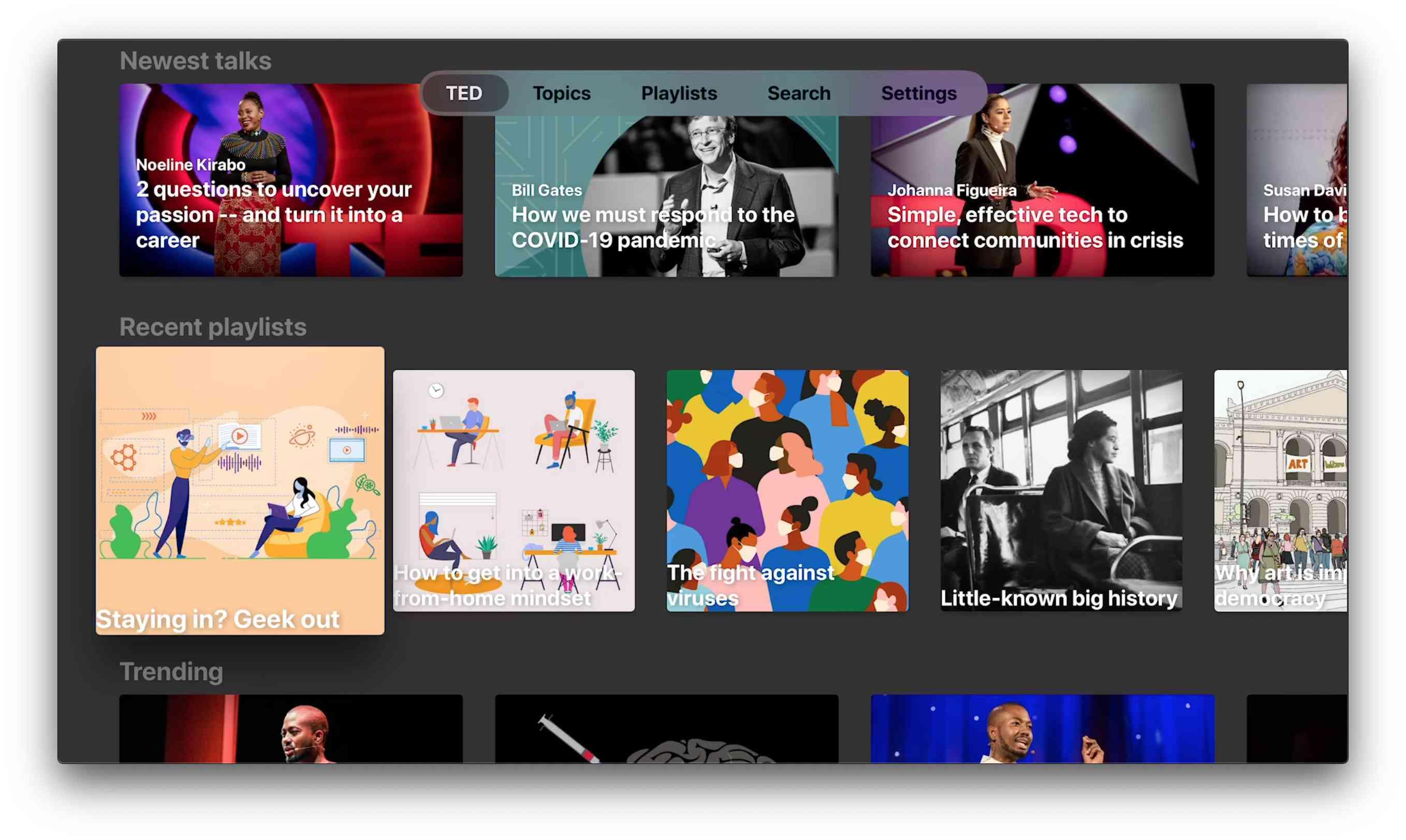 TED app for Apple TV