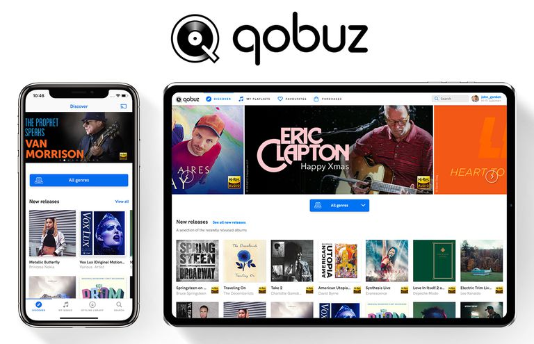 The Qobuz app running on the iPhone and a tablet.