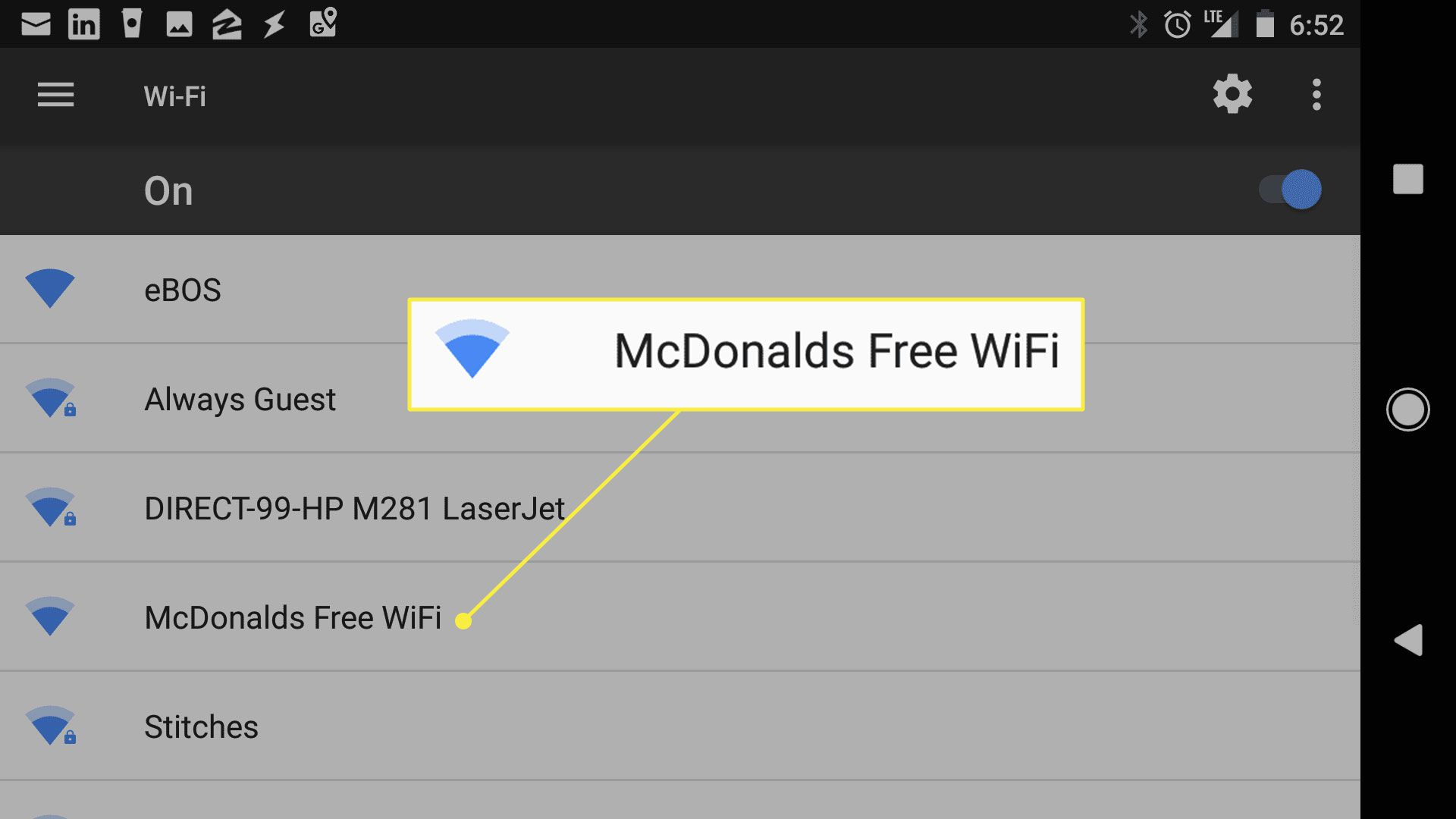 The McDonalds Free WiFi network
