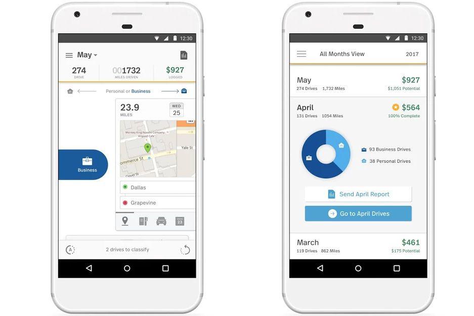 Screenshots of the MileIQ app