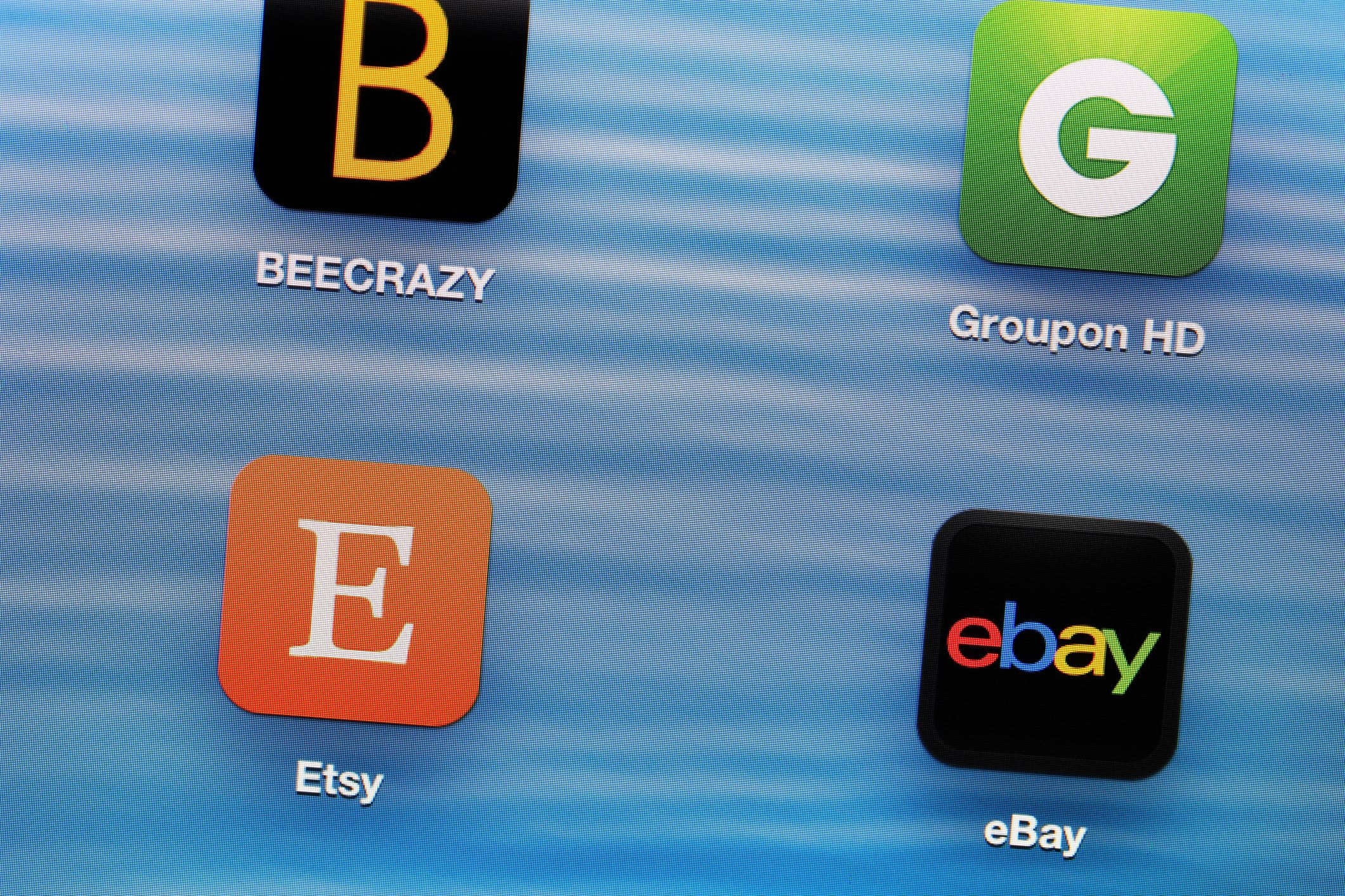A closeup image of a smartphone screen showing the Etsy app.